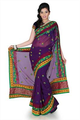Purple chiffon saree with unstitched blouse (cnc1193)