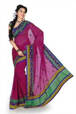 Dark magenta chiffon saree with unstitched blouse (cnc1195)