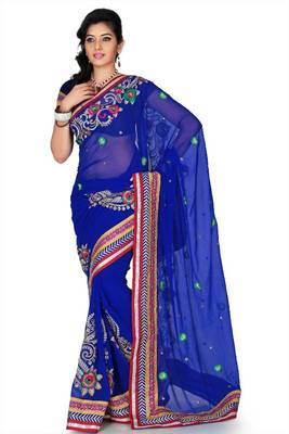 Royal blue chiffon saree with unstitched blouse (cnc1196)