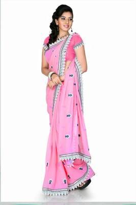 Hot pink chiffon saree with unstitched blouse (cnc1208)