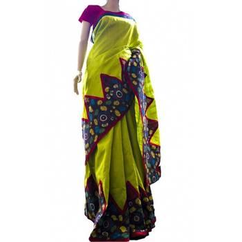 Mehendi green pure raw silk saree with Kalamkari temple border
