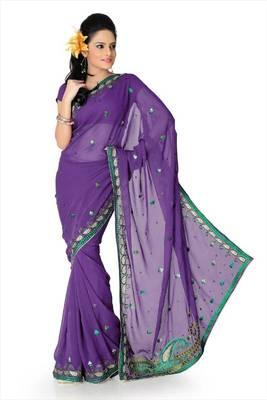 Purple faux georgette saree with unstitched blouse (akt760)
