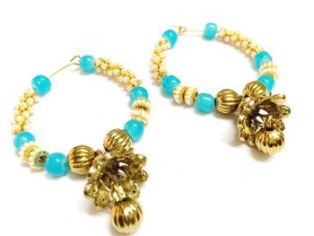 Stylish Blue and Golden Bali jhumki