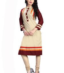 Buy Beige plain Cotton kurti kurtas-and-kurti online