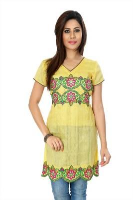 Yellow bhagalpuri silk readymade kurti (k34)