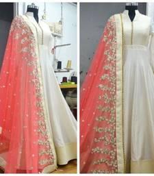 Buy Cream Bhagalpuri Silk embroidered semi stitiched salwar with dupatta anarkali-salwar-kameez online
