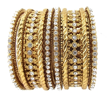 Bridal Collection 6pc  Cubic Zirconia Gold Plated Bangle Set