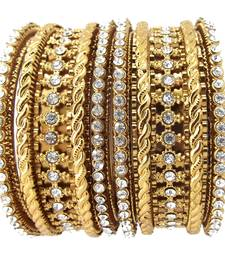 Buy Bridal Collection 6pc  Cubic Zirconia Gold Plated Bangle Set bangles-and-bracelet online