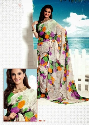 Bhuwal FashionWhite & Multi Color Georgette Saree  with UnStiched Blouse