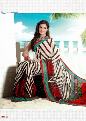 Bhuwal FashionBlack White Red Georgette Saree  with UnStiched Blouse