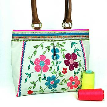 White Floral Embroidered Shopper