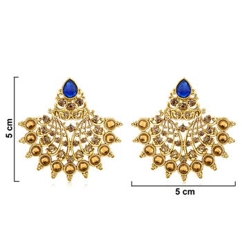 Blue Chaton and Man-Made Earrings in High Gold Look