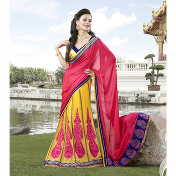 The Pink and Yellow embroidered ladies Party wear Lehenga saree based on Satin and Georgette Fabric.