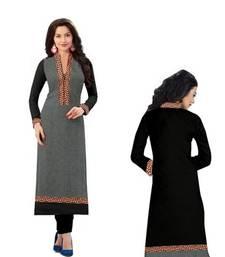 Buy black and grey straight georgette semi stitched kurti eid-kurti online