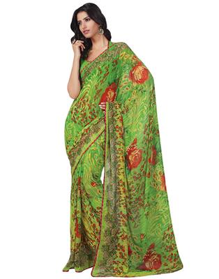 Dealtz Fashion Green Georgette  Saree