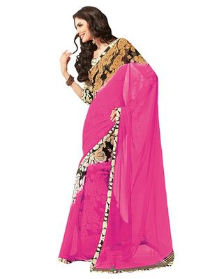 Dealtz Fashion Pink Georgette  Saree