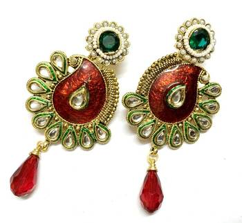 Craftstages Red Traditional Kundan work Earrings