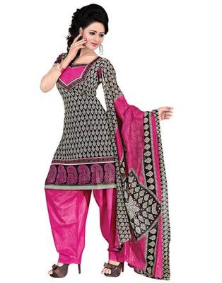 Pink  Colored Cotton Printed Un-Stitched Salwar Kameez