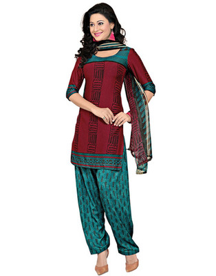 Teal Colored Cotton Printed Un-Stitched Salwar Kameez