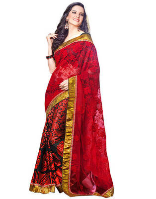 Red  Colored Net Embroidered Saree