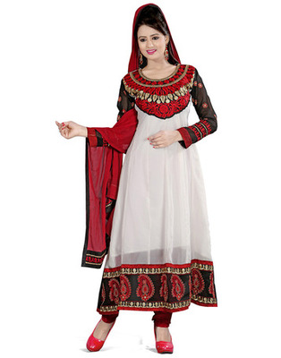 White Colored Georgette Embroidered Salwar Kameez