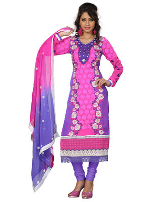 Pink Colored Georgette Embroidered Salwar Kameez