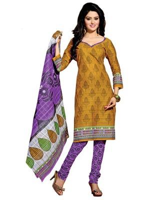 Golden & Lavender Colored Cotton Unstitched Salwar Kameez