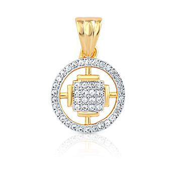 Mahi Gold Plated Shimmering Circle Pendant withCZ  Stones
