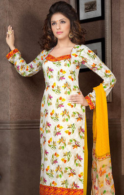 Hypnotex Off White Pure Cotton Anarkali Salwar Kameez Aarti 7337A