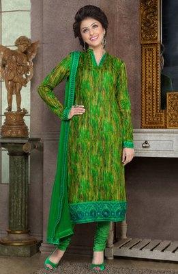 Hypnotex Green Pure Cotton Anarkali Salwar Kameez Aarti 7339A
