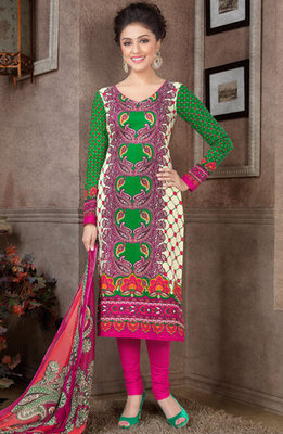 Hypnotex Green Pure Cotton Anarkali Salwar Kameez Aarti 7343B
