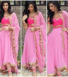 Buy Pink georgette embroidered semi stitiched salwar with dupatta anarkali-salwar-kameez online