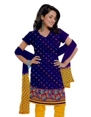 Salwar Studio Blue & Yellow Cotton unstitched churidar kameez with dupatta ES-9051