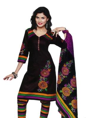 Salwar Studio Black Cotton Printed unstitched churidar kameez with dupatta SD-587