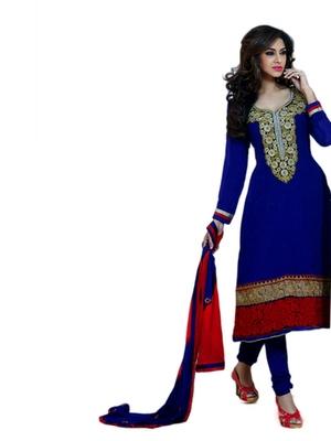 Salwar Studio Blue & Red semi georgette Anarkali designer semistitched churidar kameez with dupatta  JC-1004