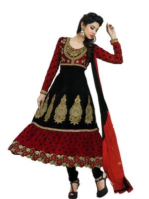 Salwar Studio Black & Red semi georgette Anarkali designer semistitched churidar kameez with dupatta  JC-1010