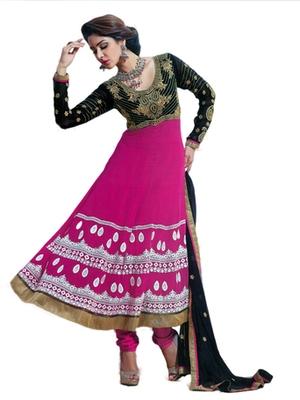Salwar Studio Pink & Black semi georgette Anarkali designer semistitched churidar kameez with dupatta  KY-5004
