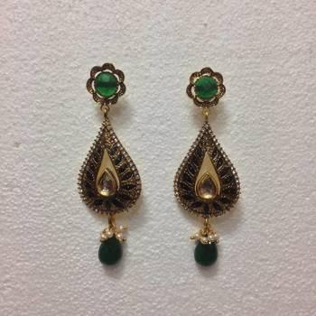 Mango shaped designer earrings in Green
