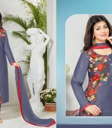 Buy Blue cotton embroidered semi stitiched salwar with dupatta cotton-salwar-kameez online