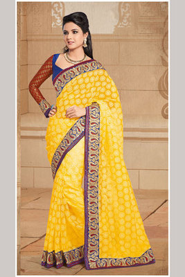 Attracrive Yellow Colour Brasso Saree