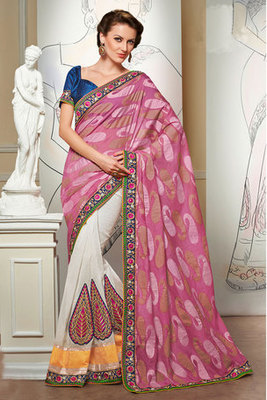 Pink and Off white Banarasi Jacquard Saree Showing Resham Embroidery Work