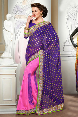Attractive Purple and Pink Viscose Saree Showing Zari and Resham Embroidery work
