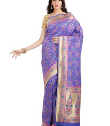 Buy blue embroidered banarasi saree With Blouse party-wear-saree online