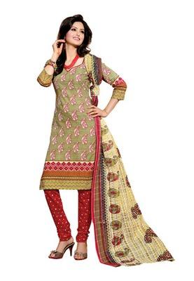 CottonBazaar Light Green & Maroon Colored Cotton Unstitched Salwar Kameez