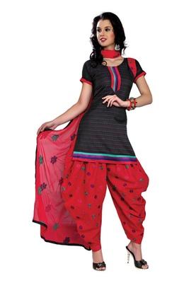 Fabdeal Black Colored Cotton Jacquard Embroidered Un-Stitched Salwar Kameez