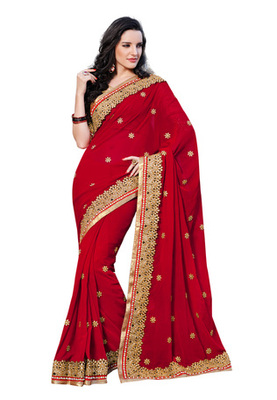 Fabdeal Red Colored Net Embroidered Saree