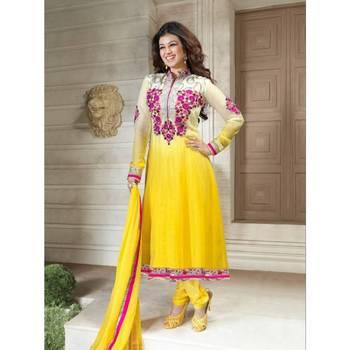 Fancy Ivory & Yellow Salwar Kameez-TBSUVIN1327