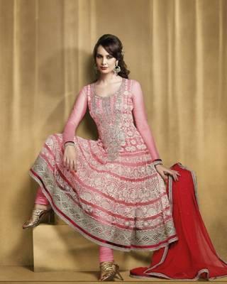 Aesthetic Rose Pink Salwar Kameez- TBSUBEL5007B