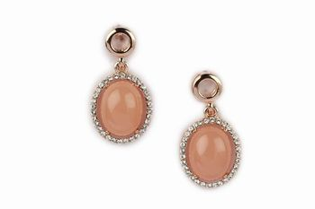 GOLD  METAL Diamond lining + Peach Colour resin stone round earring  - By Dealtz Fashion