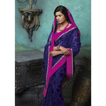 Navy Blue Printed Brasso Georgette Saree with Blouse-TBLA2614